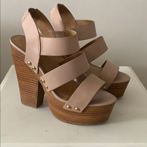 Chunky heeled tan and wood sandals